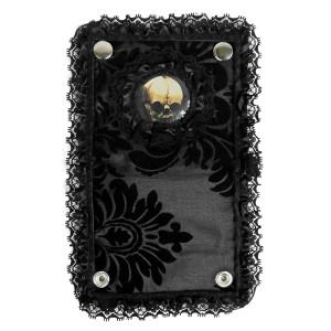 Dr. Frankenstein - Black Lace Brocade Skull Bi-Fold Wallet