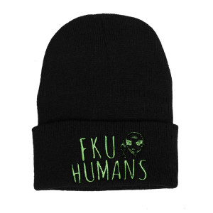 Black Beanie Embroidered Fuck You Humans