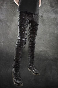 Dr. Frankenstein - Torn Black Jeans with Vinyl Fill and Studs