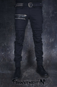 Dr. Frankenstein - Black Jeans with Black Studs and Zipper