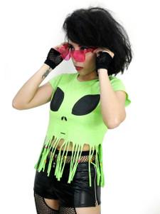 Green Alien Tattered Blouse T-Shirt