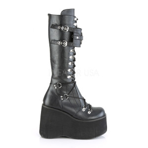Knee High Vegan Boots with Buckle and Straps