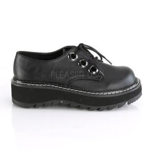 Black Demonia Vegan Shoes with Platform