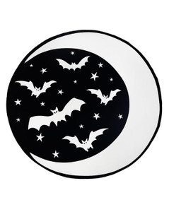 Too Fast - Crescent Moon & Bats Round Goth Beach Towel