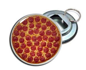 "Pizza 2.25"" Metal Bottle Opener Keychain"