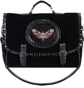 Restyle Clothing - Cameo Moth Black Hand Bag
