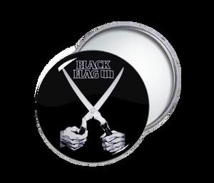 Black Flag - Scissors Round Pocket Mirror