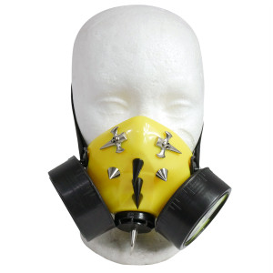 Yellow Respirator with Nuclear Waste Sign