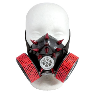 Black and Red Respirator with Grate and Spikes