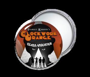 Clock Work Orange Round Pocket Mirror