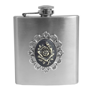 Flask - Cameo Roses Brooch