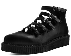 T.U.K. Shoes - A9417L Black TUKskin Multi-Strap Pointed Mary Jane Creeper