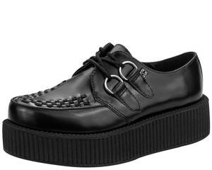 T.U.K. Shoes - V6802 Black Leather Mondo Sole Creeper