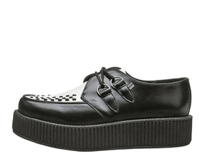 T.U.K. Shoes - V6804 Black and White Leather Mondo Sole Creepers