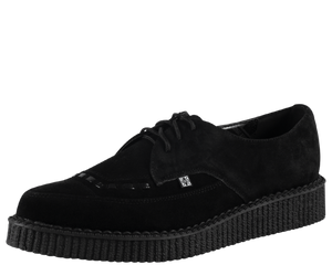 T.U.K. Shoes - A8138 Black Suede Leather Pointed Creepers