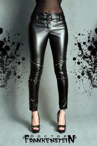 Dr. Frankenstein - Black Vinyl Pants with Studs