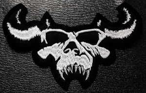 "Danzig - Shaped Skull Logo 5x2"" Embroidered Patch"