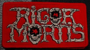"Rigor Mortis - Red Logo 4x2.5"" Embroidered Patch"