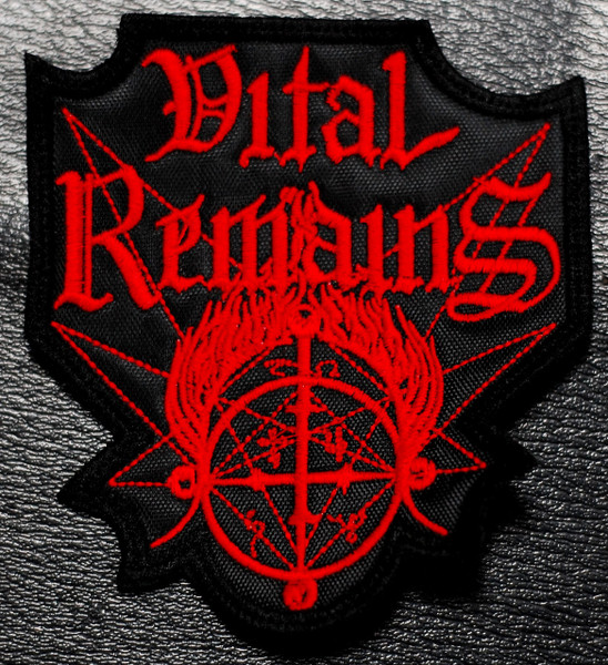 vital remains red logo embroidered patch. Black Bedroom Furniture Sets. Home Design Ideas