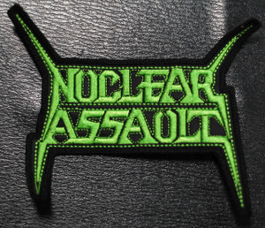 "Nuclear Assault - Green Logo 5x4"" Embroidered Patch"