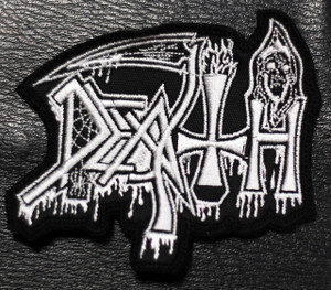 "Death - Shaped White Logo 3x1.5"" Embroidered Patch"