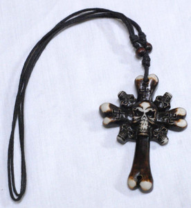"Bone Shaped Skull Cross 3x2.2"" Resin Pendant"
