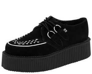 T.U.K. Shoes - A8366 Black & White Suede Creepers