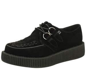 T.U.K. Shoes - A7270 Black Suede Low Sole Viva Creepers