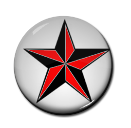 "Black & Red Star 1"" Pin"