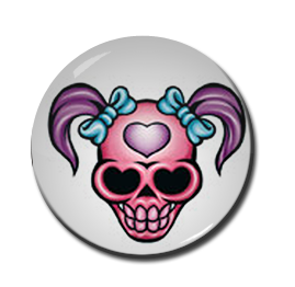 "Pigtailed Skull 1"" Pin"