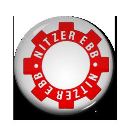 """Nitzer Ebb - White Gear Logo 1"""" Pin"""