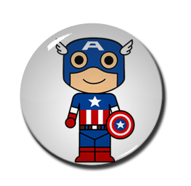 "Chibi Captain America 1.5"" Pin"