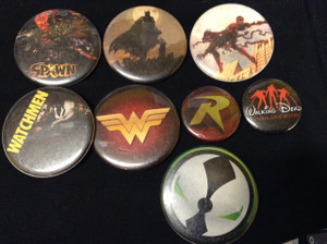 8 Piece Pin Lot - Spawn, Batman, Spiderman, Watchmen + More!