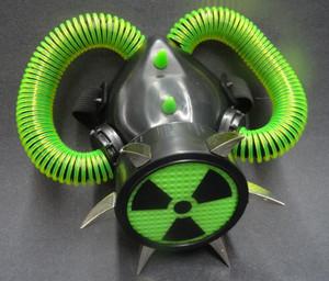 Respirator - Neon Green Hazard w/ Spikes & Tubes