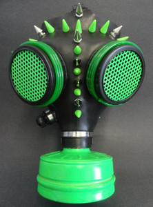 Gas Mask - Black and Neon Green with  Spikes
