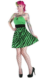 Sourpuss - Badsville Tiger Print Starlet Dress Green