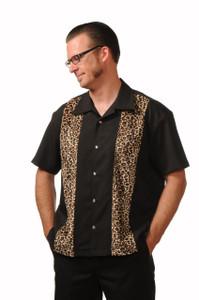 Last Call - Leopard Panel Men's Button Up