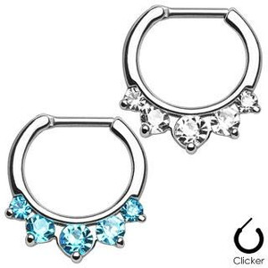 Steel Gemmed Princess Septum Clicker