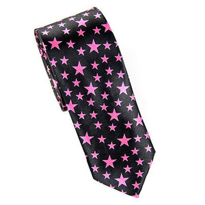 Black / Pink Starred Skinny Satin Neck Tie
