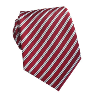 Red Striped Skinny Satin Neck Tie