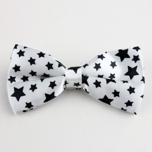 White and Black Stars Bow Tie