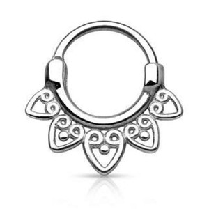 Small Tribal Heart Fan Septum Clicker
