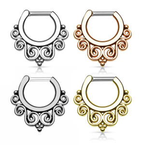 Tribal Swirl Septum Clicker