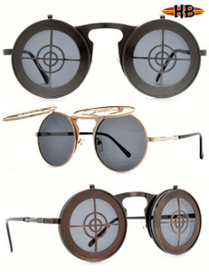 Flip-Up Sharpshooter Steampunk Glasses
