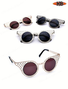 Modern Metal Frame Caged Round Cat-Eye Sunglasses