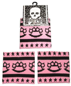Sourpuss - Black Brass Knuckles & Stars Knit Sweatband