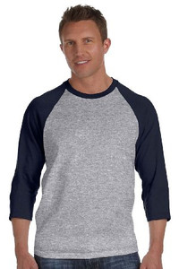 Grey 3/4 Sleeve T-Shirt With Contrast Raglan Sleeves