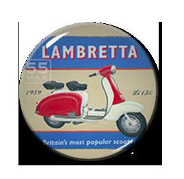 """Lambretta - Britain's Most Popular Scooter 1"""" Pin"""