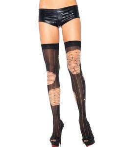Leg Avenue - Distressed Pinstripe Thigh High Stockings