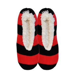 K. Bell - Red and Black Stripes Cozy Slipper Shoes